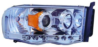 In Pro Carwear - Dodge Ram IPCW Headlights - Projector with Rings with Amber Reflector - 1 Pair - CWS-408C2