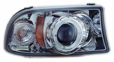 In Pro Carwear - Dodge Dakota IPCW Headlights - Projector with Rings & Corners with Amber Reflector - 1 Pair - CWS-411C2