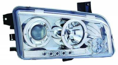 In Pro Carwear - Dodge Charger IPCW Headlights - Projector with Rings - 1 Pair - CWS-416C2