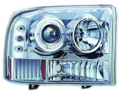 In Pro Carwear - Ford Superduty IPCW Headlights - Projector with Rings & Corners with Amber Reflector - 1 Pair - CWS-500C2