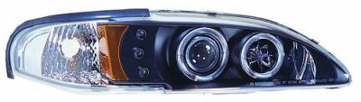 In Pro Carwear - Ford Mustang IPCW Headlights - Projector with Rings & Corners with Amber Reflector - 1 Pair - CWS-519B2