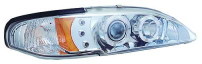 In Pro Carwear - Ford Mustang IPCW Headlights - Projector with Rings & Corners with Amber Reflector - 1 Pair - CWS-519C2