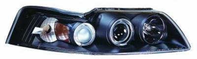 In Pro Carwear - Ford Mustang IPCW Headlights - Projector with Rings with Amber Reflector - 1 Pair - CWS-533B2