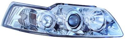 In Pro Carwear - Ford Mustang IPCW Headlights - Projector with Rings with Amber Reflector - 1 Pair - CWS-533C2