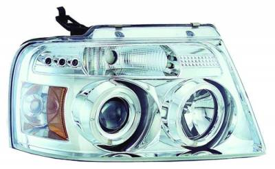 In Pro Carwear - Ford F250 IPCW Headlights - Projector with Rings with Amber Reflector - 1 Pair - CWS-538C2