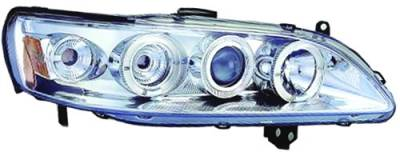 In Pro Carwear - Honda Accord IPCW Headlights - Projector with Rings with Amber Reflector - 1 Pair - CWS-712C2
