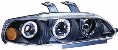 In Pro Carwear - Honda Civic IPCW Headlights - Projector with Rings & Corners with Amber Reflector - 1 Pair - CWS-719B2