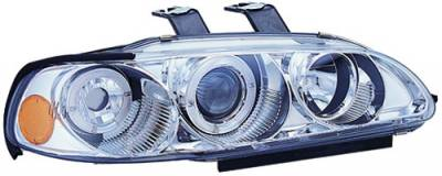 In Pro Carwear - Honda Civic IPCW Headlights - Projector with Rings & Corners with Amber Reflector - 1 Pair - CWS-719C2