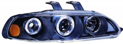 In Pro Carwear - Honda Civic 4DR IPCW Headlights - Projector with Rings & Corners with Amber Reflector - 1 Pair - CWS-720B2