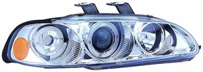 In Pro Carwear - Honda Civic 4DR IPCW Headlights - Projector with Rings & Corners with Amber Reflector - 1 Pair - CWS-720C2