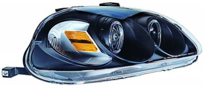 In Pro Carwear - Honda Civic IPCW Headlights - Projector with Rings with Amber Reflector - 1 Pair - CWS-729B2