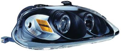 In Pro Carwear - Honda Civic IPCW Headlights - Projector with Rings with Amber Reflector - 1 Pair - CWS-730B2