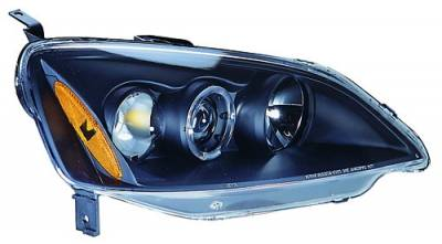 In Pro Carwear - Honda Civic IPCW Headlights - Projector with Rings with Amber Reflector - 1 Pair - CWS-736B2