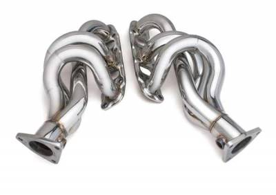 DC Sports - Two 3-1 Brushed Stainless Steel Exhaust Headers with Blue Collector Pipe - AHS6009B