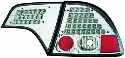 In Pro Carwear - Honda Civic 4DR IPCW Taillights - LED without Red Cap - Clear Lens - Chrome Housing - No Red Cap - 1 Pair - LEDT-745C