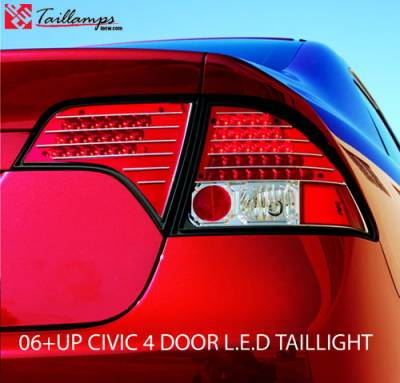In Pro Carwear - Honda Civic 4DR IPCW Taillights - LED with Red Cap - Clear Lens - Chrome Housing with Red Cap - 1 Pair - LEDT-745CR