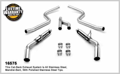 MagnaFlow - Ford Mustang Magnaflow Dual Split Rear Exit Stainless Steel Cat-Back Exhaust System - 16575