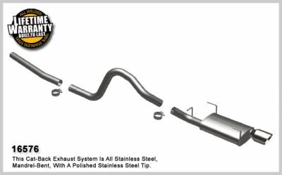 MagnaFlow - Ford Mustang Magnaflow Single Rear Exit Stainless Steel Cat-Back Exhaust System - 16576