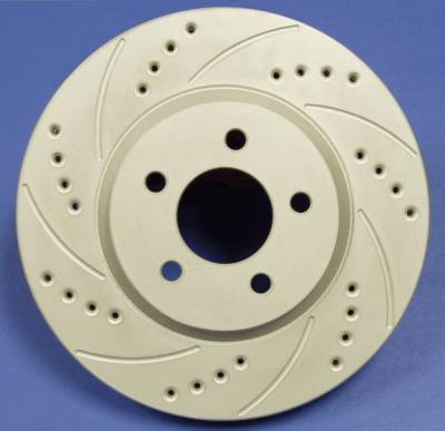 SP Performance - Mitsubishi Montero SP Performance Cross Drilled and Slotted Solid Rear Rotors - F30-4554