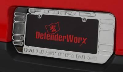 Defenderworx - Ford Mustang Defenderworx Logo License Plate Frame - Chrome - 900726