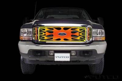 Putco - Ford F350 Superduty Putco Flaming Inferno Stainless Steel Grille - 4 Color - 89305