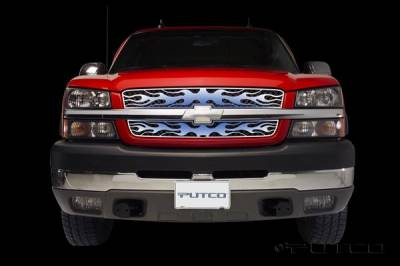 Putco - Chevrolet Silverado Putco Flaming Inferno Stainless Steel Grille - Blue - 89437
