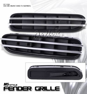 OptionRacing - BMW 5 Series Option Racing Bumper Grille - M5 Style Fender Net - 29-12116
