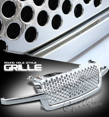 OptionRacing - Chevrolet Silverado Option Racing Round Hole Grille - 65-15124