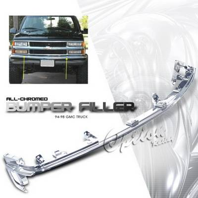OptionRacing - Chevrolet C10 Option Racing Chrome Grille - Upper Bumper Filler - Chrome - 1PC - 65-15330