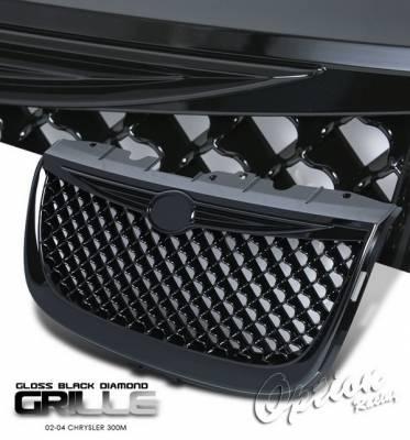 OptionRacing - Chrysler 300 Option Racing Black Grille - Diamond Style - Black - 65-16277