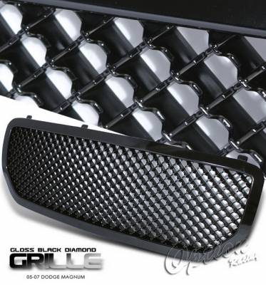 OptionRacing - Dodge Magnum Option Racing Black Grille - Diamond Style - Black - 65-17270