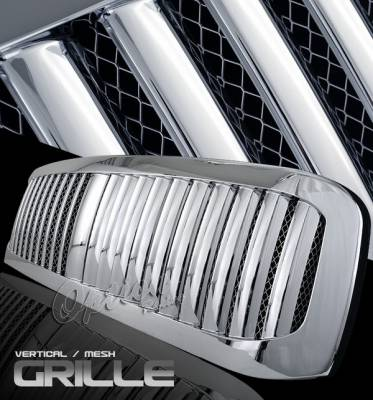 OptionRacing - Ford F250 Option Racing Chrome Grille - Vertical Mesh - 1PC - 65-18384