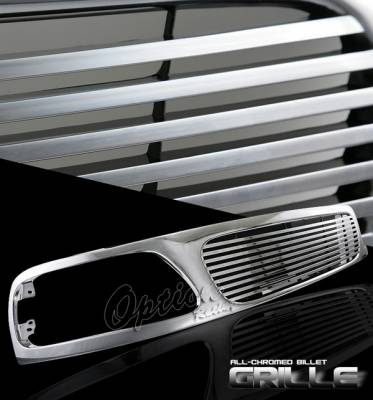 OptionRacing - Ford F150 Option Racing Chrome Grille - Billet Style - Chrome - 1PC - 65-18388