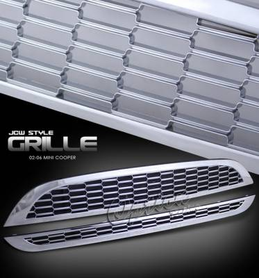 OptionRacing - Mini Cooper Option Racing Chrome Grille - JCW Style - Chrome - 1PC - 65-34257