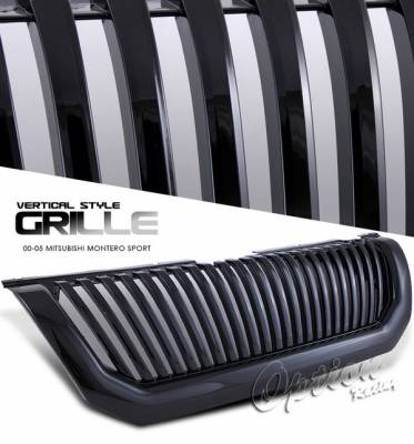 OptionRacing - Mitsubishi Montero Option Racing Black Grille - Vertical Style - Black - 65-35256