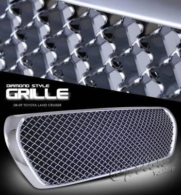 OptionRacing - Toyota Land Cruiser Option Racing Chrome Grille - Diamond Style - Chrome - 1PC - 65-44254