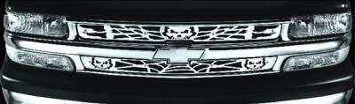 Pilot - Chevrolet Tahoe Pilot Stainless Steel Skull Grille Insert - Set - SG-132