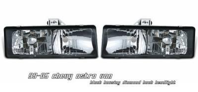 OptionRacing - Chevrolet Astro Option Racing Headlights - Black - 10-15112