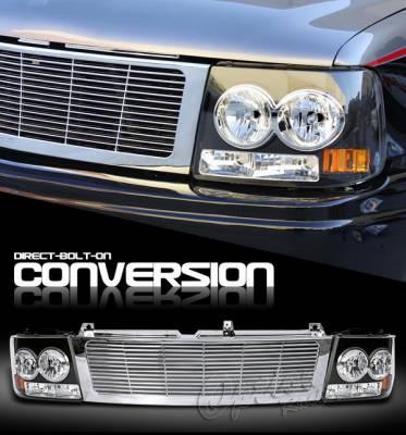 OptionRacing - Chevrolet Silverado Option Racing Headlights - Chrome & Black - 10-15259