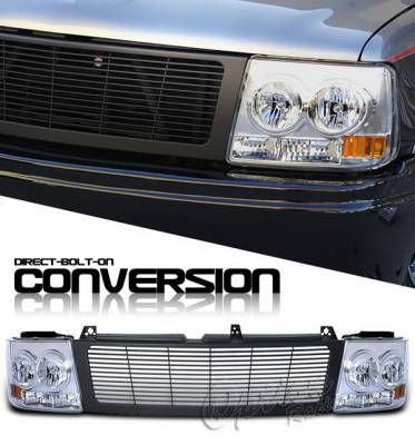 OptionRacing - Chevrolet Silverado Option Racing Headlights - Black & Chrome - 10-15260