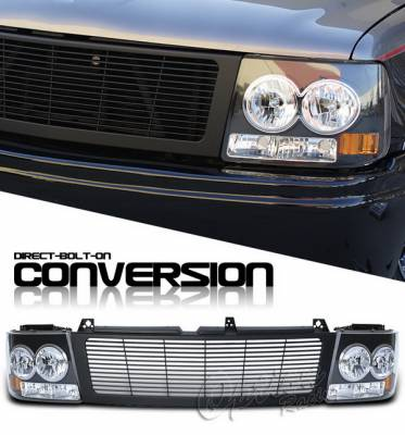 OptionRacing - Chevrolet Silverado Option Racing Headlights - Black & Black - 10-15261