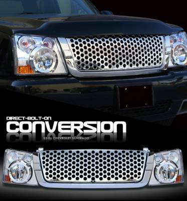 OptionRacing - Chevrolet Silverado Option Racing Headlights - Chromed with Chromed Punch Hole Grille - 10-15264