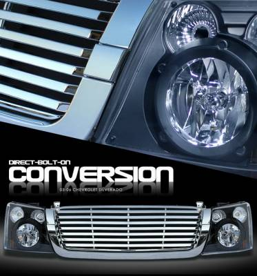 OptionRacing - Chevrolet Silverado Option Racing Headlights - Black with All - Chromed Billet Grille - 10-15267