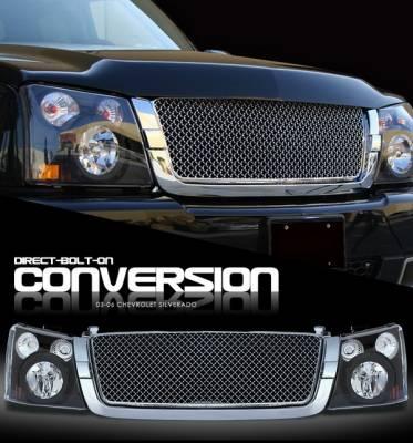 OptionRacing - Chevrolet Silverado Option Racing Headlights - Black with All - Chromed Diamond Grille - 10-15268