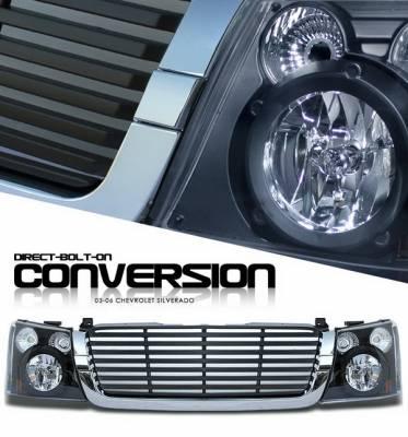 OptionRacing - Chevrolet Silverado Option Racing Headlights - Black with Chromed Trim Black Billet Grille - 10-15271