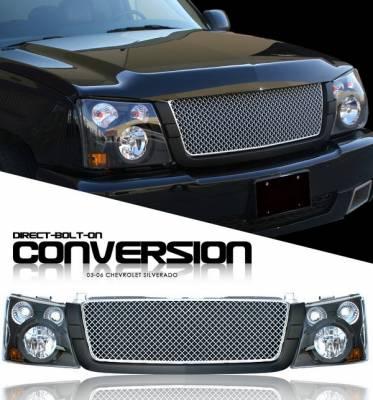 OptionRacing - Chevrolet Silverado Option Racing Headlights - Black with Black Trim Silver Diamond Grille - 10-15277