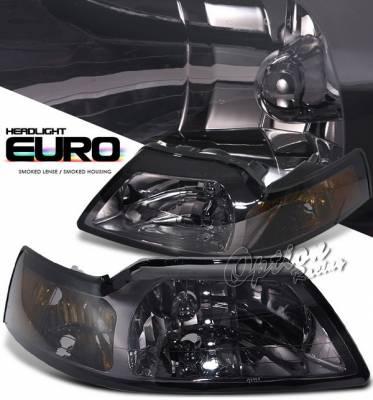OptionRacing - Ford Mustang Option Racing Headlights with Amber Reflector - Chrome - 10-18297