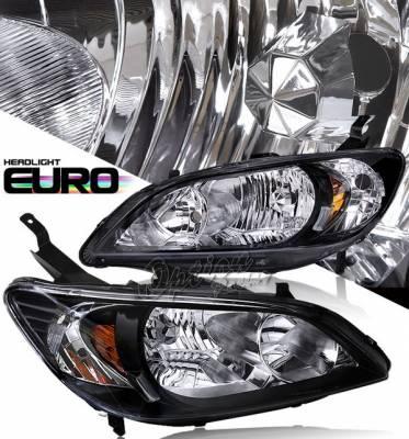 OptionRacing - Honda Civic Option Racing Projector Headlights - Black - 10-20277