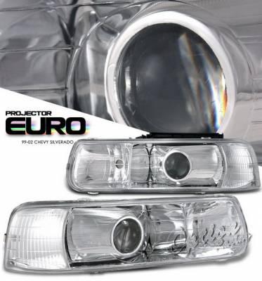 OptionRacing - Chevrolet Silverado Option Racing Projector Headlights - Chrome - 11-15137