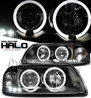 OptionRacing - Chevrolet Impala Option Racing Projector Headlights - Black with Halo - 11-15284